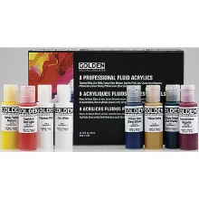 Fluid Acrylics 8-Color Set, Eight 1/2 oz. Squeeze Bottles