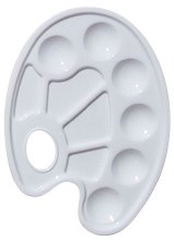 10-Well Paint Tray w/Thumb Hole, White Plastic