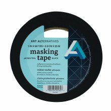 pH Neutral Black Masking Tape, 1 in. x 60 yds. Roll - 3 in. Core