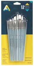 Economy Brush Sets, Synthetic Short Handle Set - Assorted Shapes - 12 Brushes