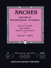 Arches Watercolor Pads, Hot-Pressed, 140lb, 9in. x 12 in.
