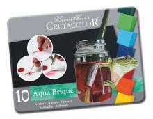 Aqua Brique Watercolor Block 10-Color Tin Set, Assorted Solid Water-soluble Blocks