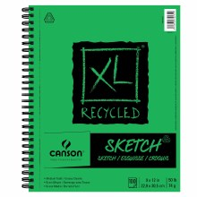 Canson XL Recycled Sketch Pads, 9 in. x 12 in. - Wire bound - 100 Shts./Pad