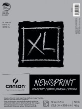 Canson XL Newsprint Paper Pads, Biggie 100/125 Sheet Pads, 9 in. x 12 in.