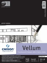 Canson Vellum Tracing Papers, Vidalon Heavy Pads 55 lb., 50 Sheets, 9 in. x 12 in.