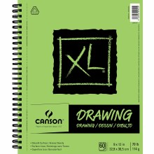 Canson XL Drawing Pads, 9 in. x 12 in. - Side Wire Bound - 60 Shts./Pad