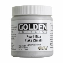 Golden Iridescent Acrylics, 4 oz Jars, Pearl Mica Flake Small