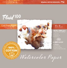 Fluid 100 Watercolor Paper Blocks, Cold Press, 8 in. x 8 in. - 140 lb., 15 Shts./Block
