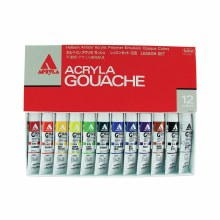 Holbein Acryla Gouache 12-Color 20ml Set, Lesson Set