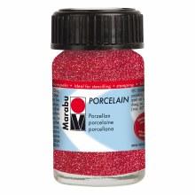 Porcelain Paint, 15ml Jars, Glitter Red