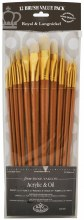 Zip N Close 12-Brush Sets, Bone Taklon, 12-Brush Set - Flat, Long Handle