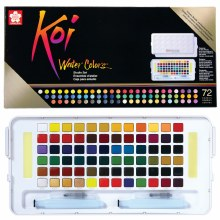 Koi Watercolors Studio Sketch Box Sets, 72-Color Studio Box Set with Two Brushes
