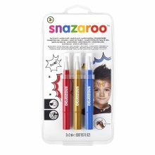 Face Painting Brush Pen Sets, Adventure Set - Gold, Red & Blue