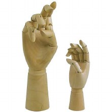 Articulated Wooden Hands, 7 in. Articulated Wooden Right Hand