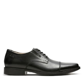 Clarks Tilden Cap Black Leather Wide Fit
