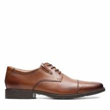 Clarks Tilden Cap Tan Leather Wide Fit