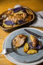 Grilled Pork Tenderloin with Roasted Fingerling Potatoes & Truffled Demi Glace