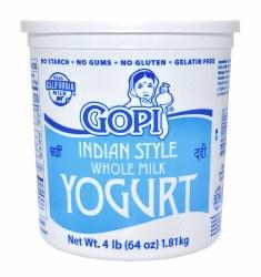 Gopi Yogurt Plain Whole Milk 64oz