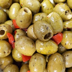 Olive Bar - Pitted Green Sicilian Olives with Red Peppers