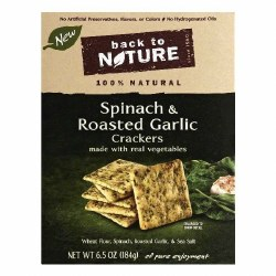 Back to Nature Spinach and Roasted Garlic Crackers 6.5oz