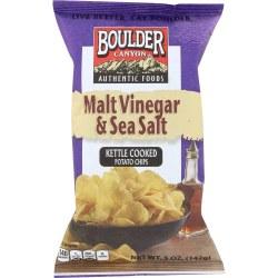 Boulder Kettle Cooked Popato Chips Malt Vinegar and Sea Salt 5oz