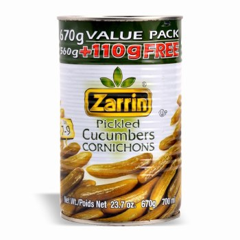 Zarrin Pickled Cucumbers 672g can