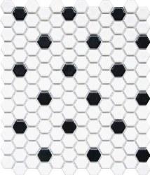 1X1 HEXAGON BLACK/WHITE PORCELAIN