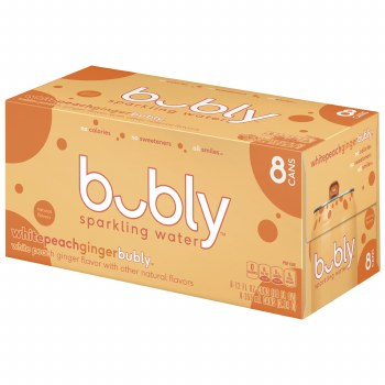 Sparkling Water - Bubly White Peach 8 ct 12 oz Cans