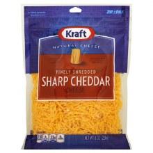 Cheese - Kraft Finely Shredded Sharp Cheddar 8 oz