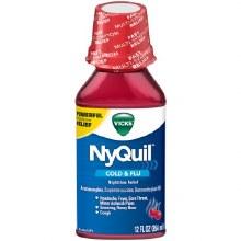 Cold & Flu - Vick's NyQuil Nighttime Liquid Cherry 12 oz