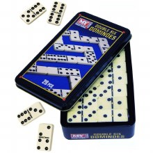 DOUBLE 6 DOMINOES  IN TIN BOX