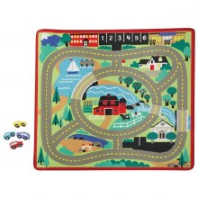 PLAYMAT ROAD WITH WOODEN CARS