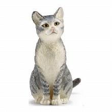 SCHLEICH CAT - SITTING (GREY)