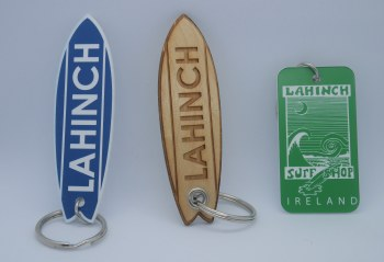 Shop logo wooden keyring