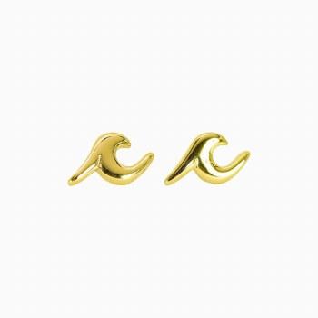 PURA VIDA GOLD WAVE STUD EARRINGS