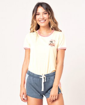 RIP CURL GOLDEN STATE RINGER TEE YELLOW XS
