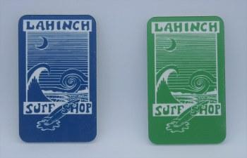 Shop logo blue acrylic magnet