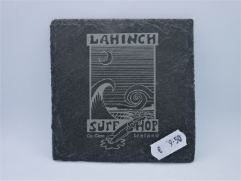 Shop logo on slate single coaster