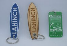 Lahinch Board shaped blue acrylic keyring