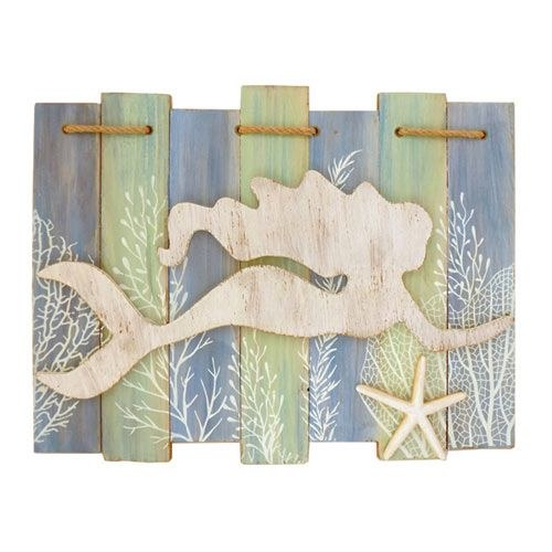 7 Slat Wood Swim Mermaid Sign w/ Starfish