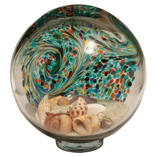 Large glass Beach Globe with sand and shells
