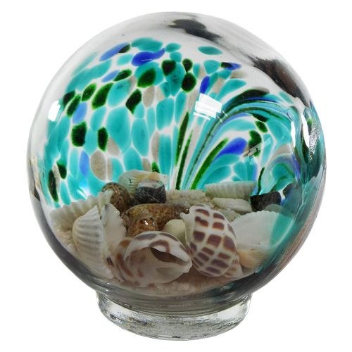 4 inch 500gr Small Glass Beach Globe Filled with Sand and Shells