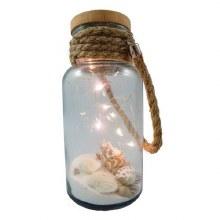 Jar w/ Rope Handle, Shells, Sand & LED Lights