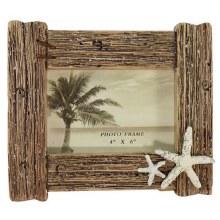 Wood Driftwood Double Starfish 4x6 Frame