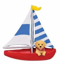 Golden Pup In Sailboat