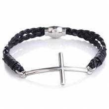 Mad Man Leather Cross Bracelet