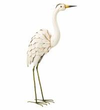 "Metal Snowy Egret 28"" Decor Looking Up"