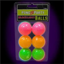 Pong Party Blacklight Balls6ct