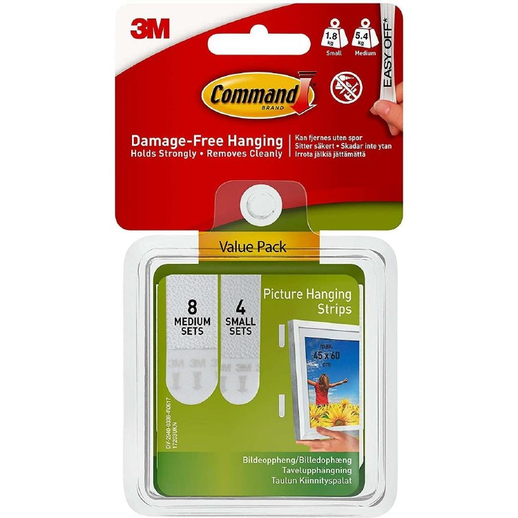 3M COMMAND SMALL & MEDIUM PICTURE HANGING STRIP VALUE PACK WHITE 12PK