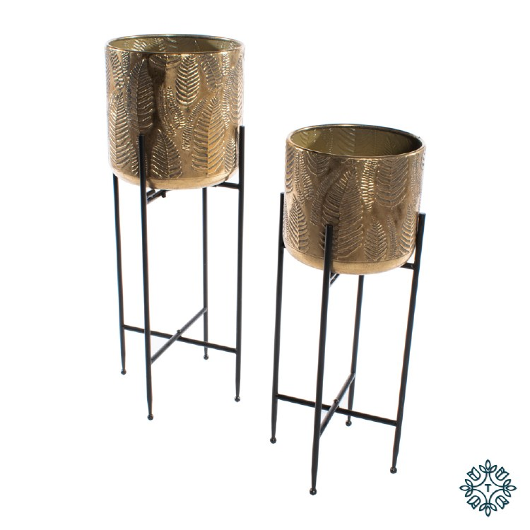 AZURE SET OF TWO LEAF PLANTER WITH STAND GOLD